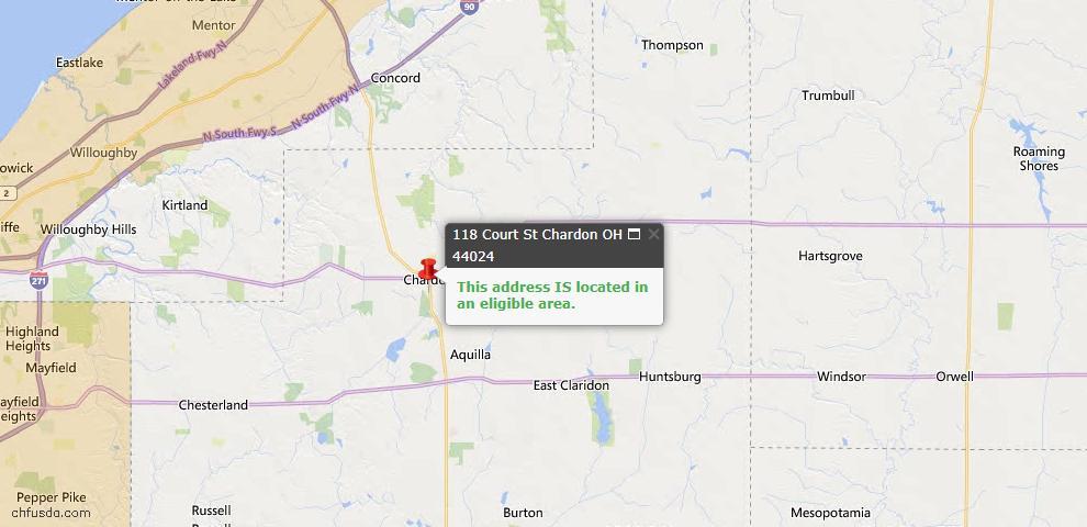 USDA Loan Eligiblity Map - 118 Court St, Chardon, OH 44024