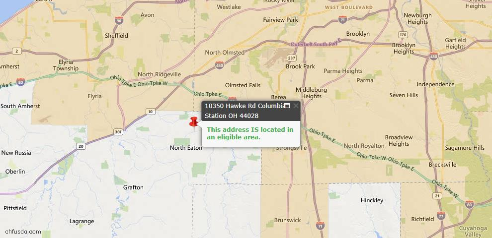 USDA Loan Eligiblity Map - 10350 Hawke Rd, Columbia Station, OH 44028