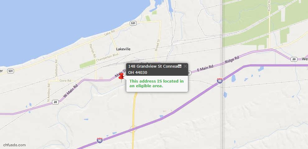 USDA Loan Eligiblity Map - 148 Grandview St, Conneaut, OH 44030