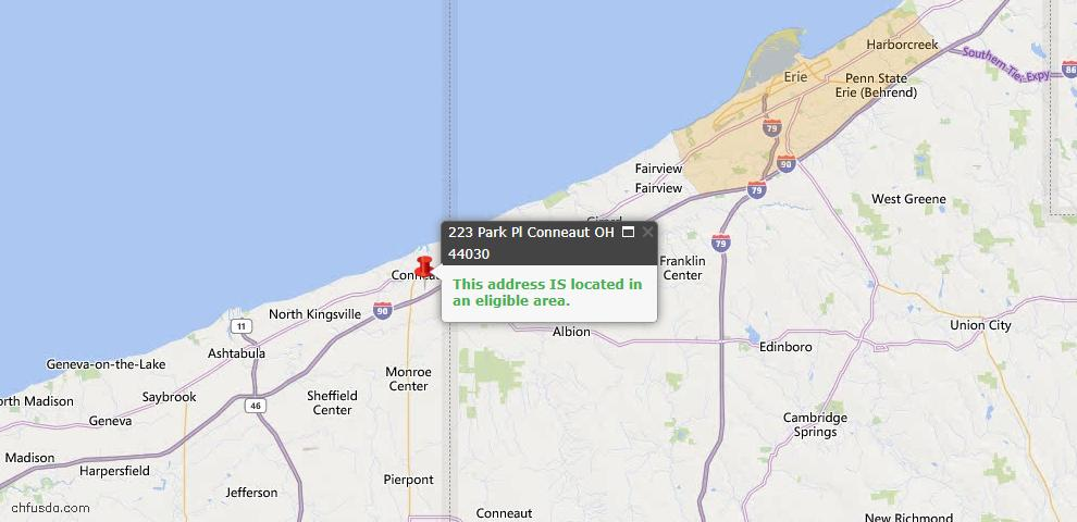 USDA Loan Eligiblity Map - 223 Park Pl, Conneaut, OH 44030