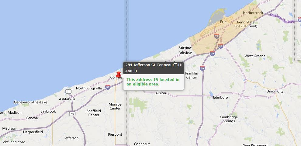 USDA Loan Eligiblity Map - 284 Jefferson St, Conneaut, OH 44030