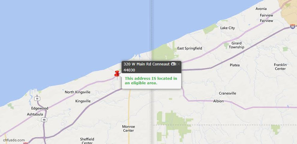USDA Loan Eligiblity Map - 320 W Main Rd, Conneaut, OH 44030