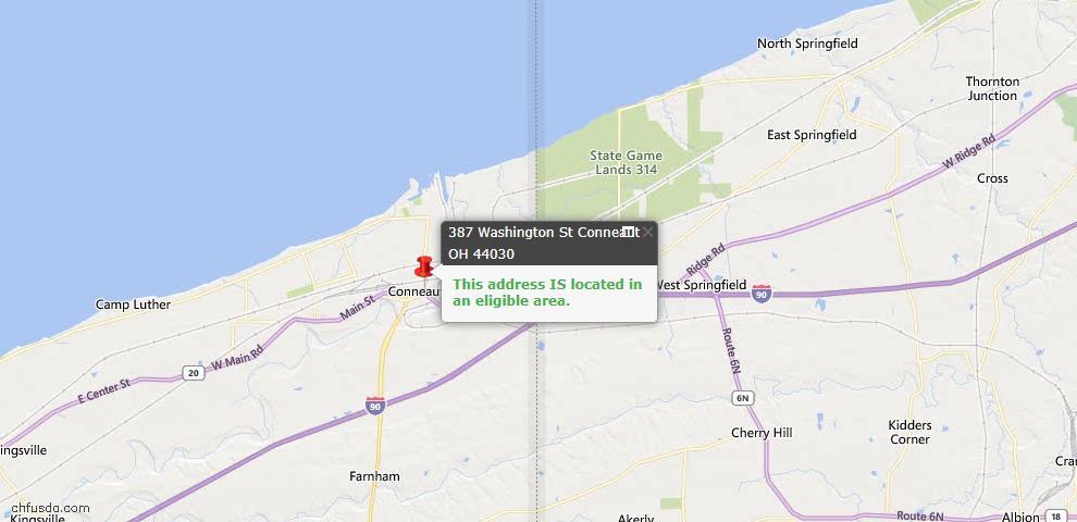 USDA Loan Eligiblity Map - 387 Washington St, Conneaut, OH 44030