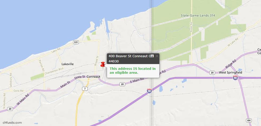 USDA Loan Eligiblity Map - 400 Beaver St, Conneaut, OH 44030
