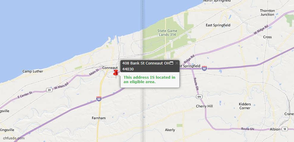 USDA Loan Eligiblity Map - 408 Bank St, Conneaut, OH 44030