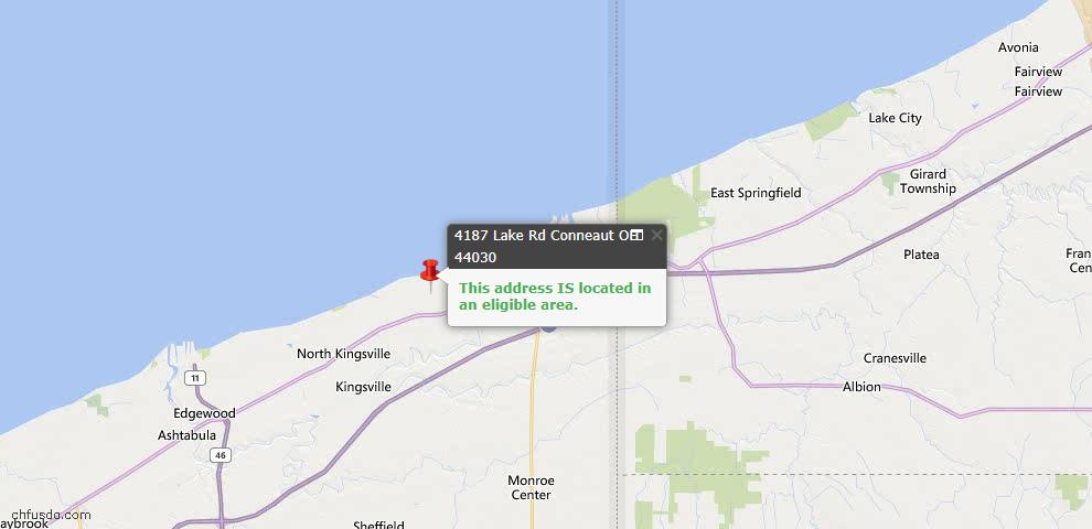 USDA Loan Eligiblity Map - 4187 Lake Rd, Conneaut, OH 44030
