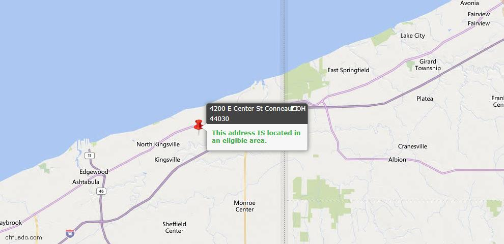USDA Loan Eligiblity Map - 4200 E Center St, Conneaut, OH 44030