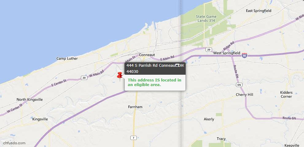 USDA Loan Eligiblity Map - 444 S Parrish Rd, Conneaut, OH 44030