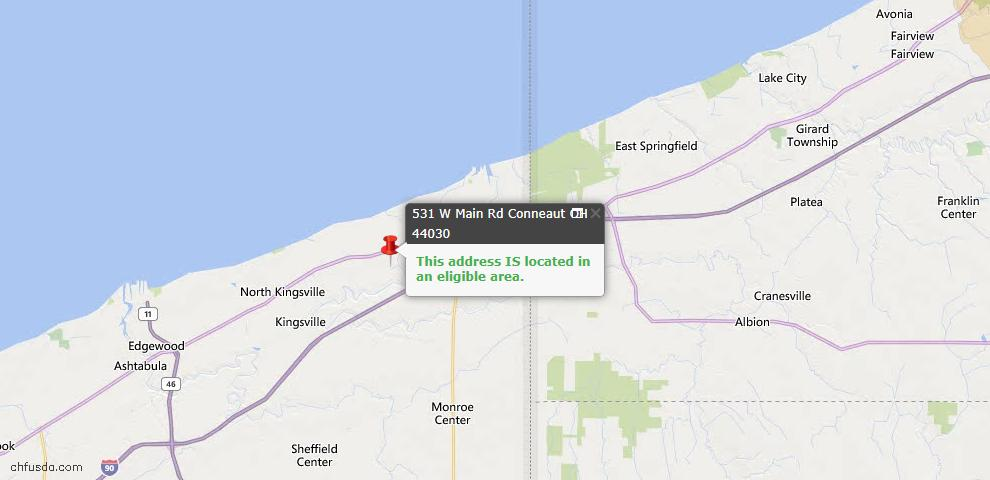 USDA Loan Eligiblity Map - 531 W Main Rd, Conneaut, OH 44030