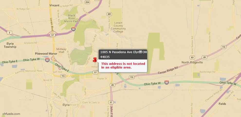 USDA Loan Eligiblity Map - 1005 N Pasadena Ave, Elyria, OH 44035