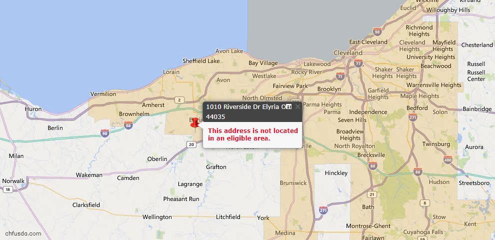 USDA Loan Eligiblity Map - 1010 Riverside Dr, Elyria, OH 44035