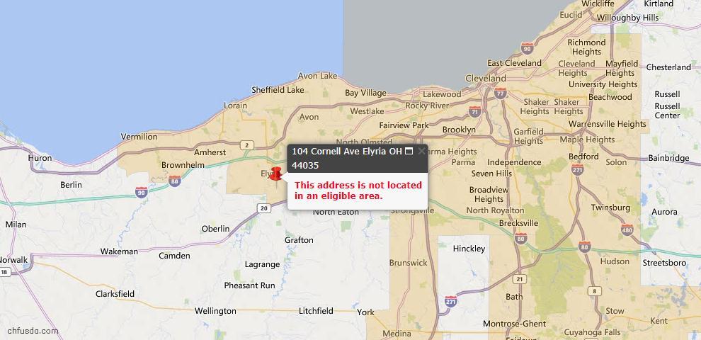 USDA Loan Eligiblity Map - 104 Cornell Ave, Elyria, OH 44035