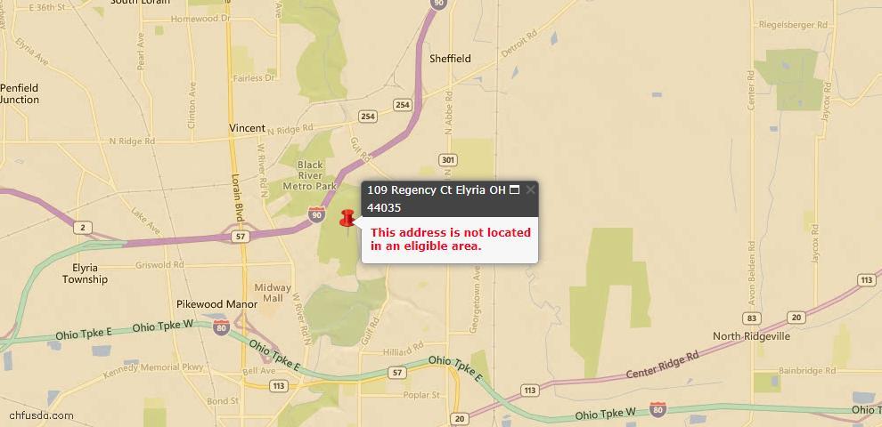 USDA Loan Eligiblity Map - 109 Regency Ct, Elyria, OH 44035
