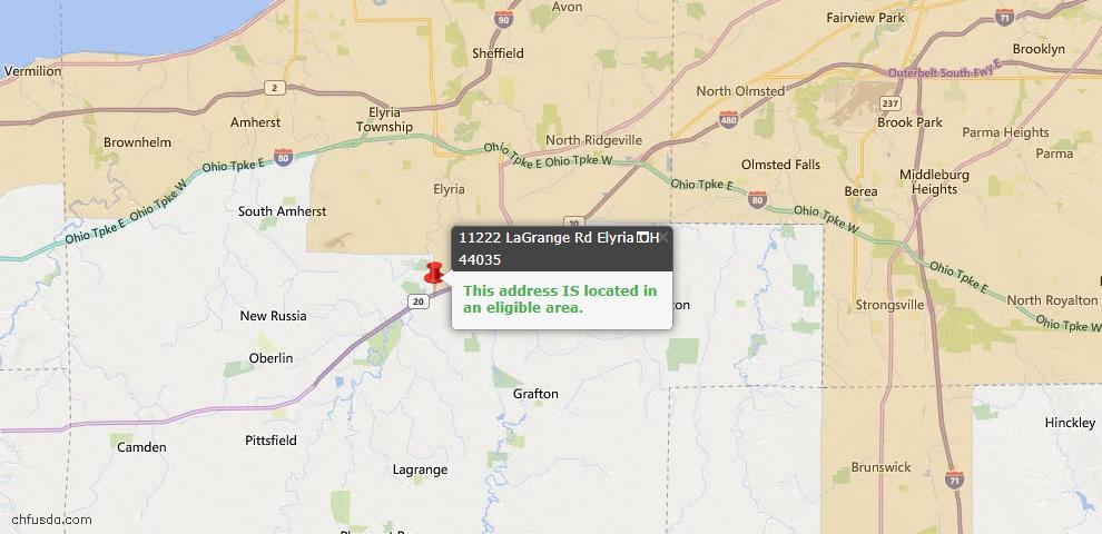 USDA Loan Eligiblity Map - 11222 Lagrange Rd, Elyria, OH 44035