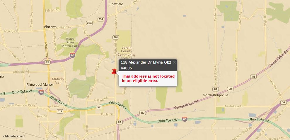 USDA Loan Eligiblity Map - 118 Alexander Dr, Elyria, OH 44035