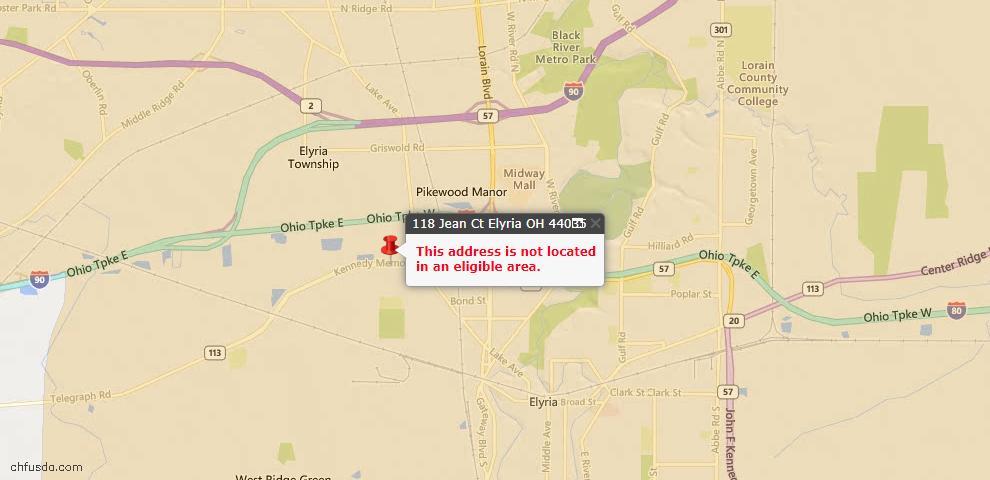 USDA Loan Eligiblity Map - 118 Jean Ct, Elyria, OH 44035