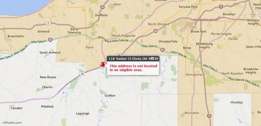 USDA Loan Eligiblity Map - 118 Yunker Ct, Elyria, OH 44035