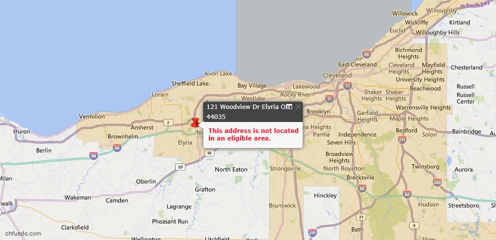 USDA Loan Eligiblity Map - 121 Woodview Dr, Elyria, OH 44035