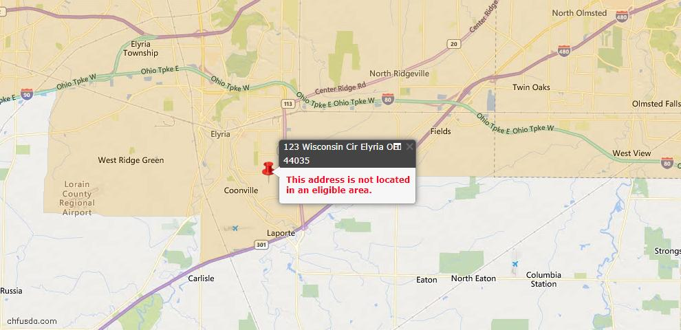 USDA Loan Eligiblity Map - 123 Wisconsin Cir, Elyria, OH 44035