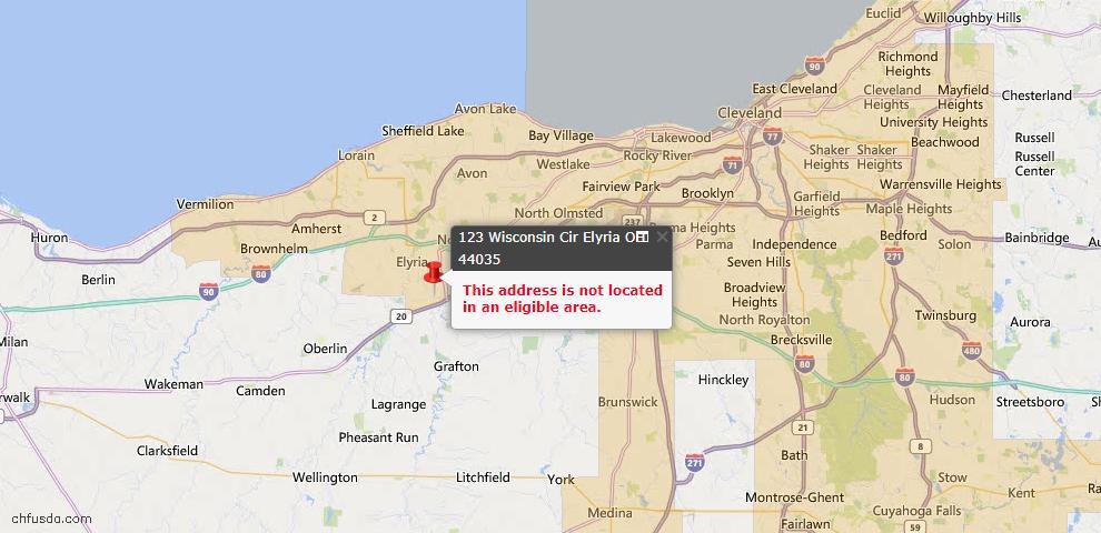 USDA Loan Eligiblity Map - 123 Wisconsin Cir, Elyria, OH 44035