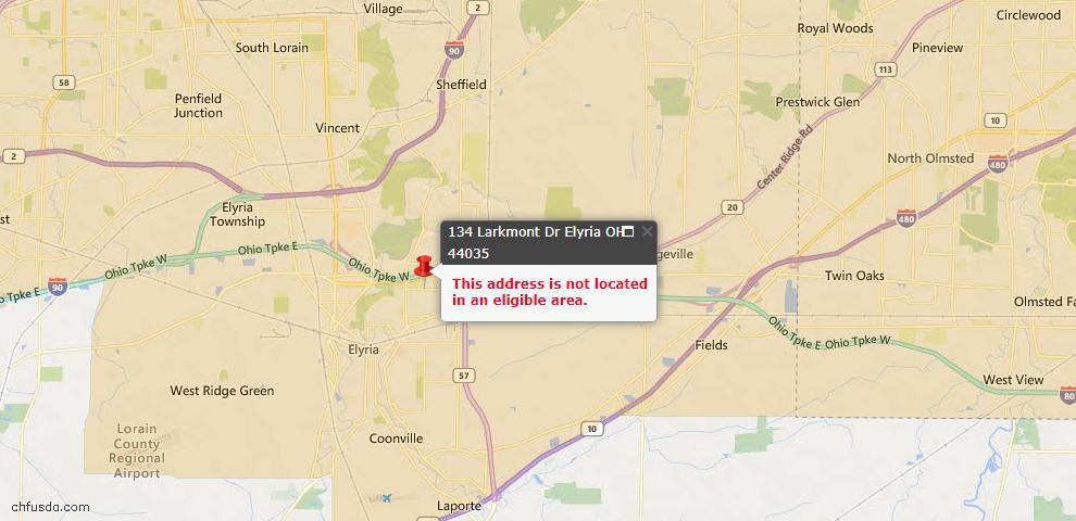 USDA Loan Eligiblity Map - 134 Larkmont Dr, Elyria, OH 44035