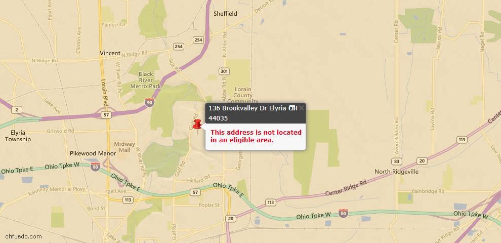 USDA Loan Eligiblity Map - 136 Brookvalley Dr, Elyria, OH 44035