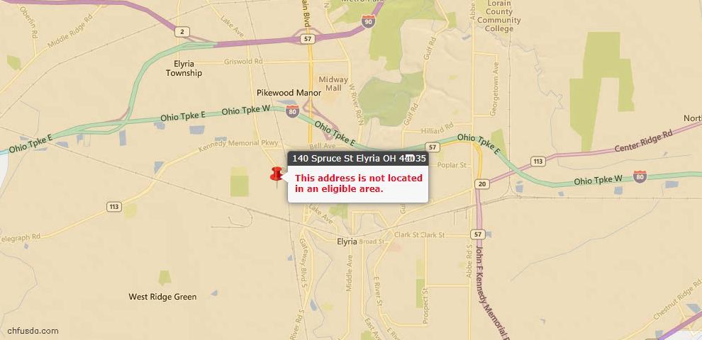 USDA Loan Eligiblity Map - 140 Spruce St, Elyria, OH 44035