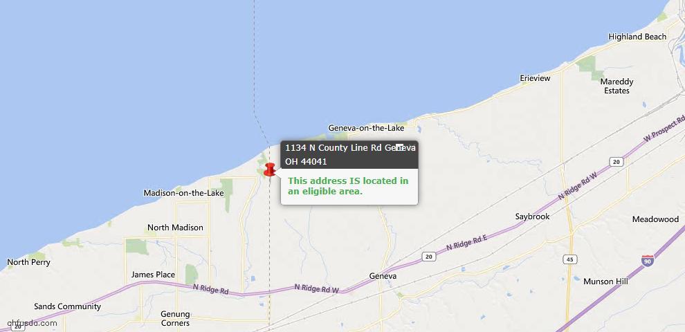 USDA Loan Eligiblity Map - 1134 N County Line Rd, Geneva, OH 44041
