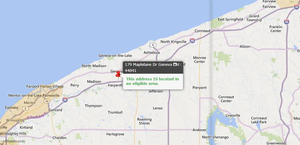 USDA Loan Eligiblity Map - 179 Maplelane Dr, Geneva, OH 44041