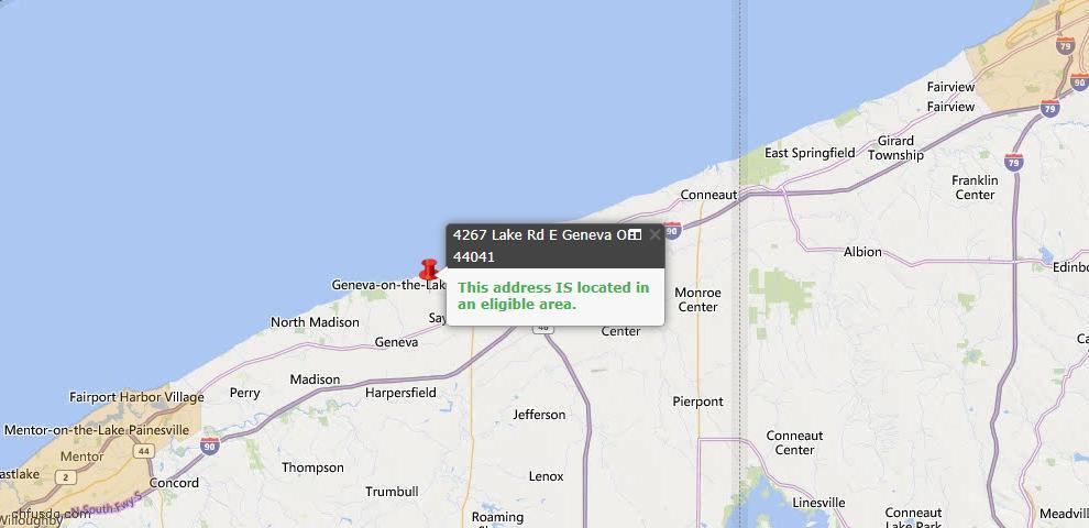 USDA Loan Eligiblity Map - 4267 Lake Rd E, Geneva, OH 44041