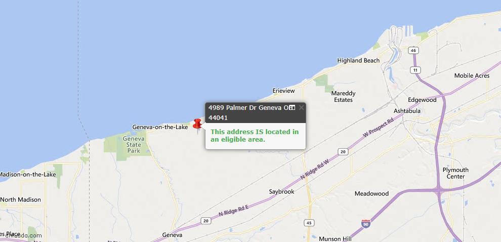 USDA Loan Eligiblity Map - 4989 Palmer Dr, Geneva, OH 44041
