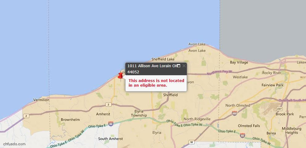 USDA Loan Eligiblity Map - 1011 Allison Ave, Lorain, OH 44052