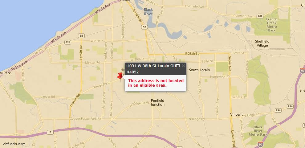 USDA Loan Eligiblity Map - 1031 W 38th St, Lorain, OH 44052