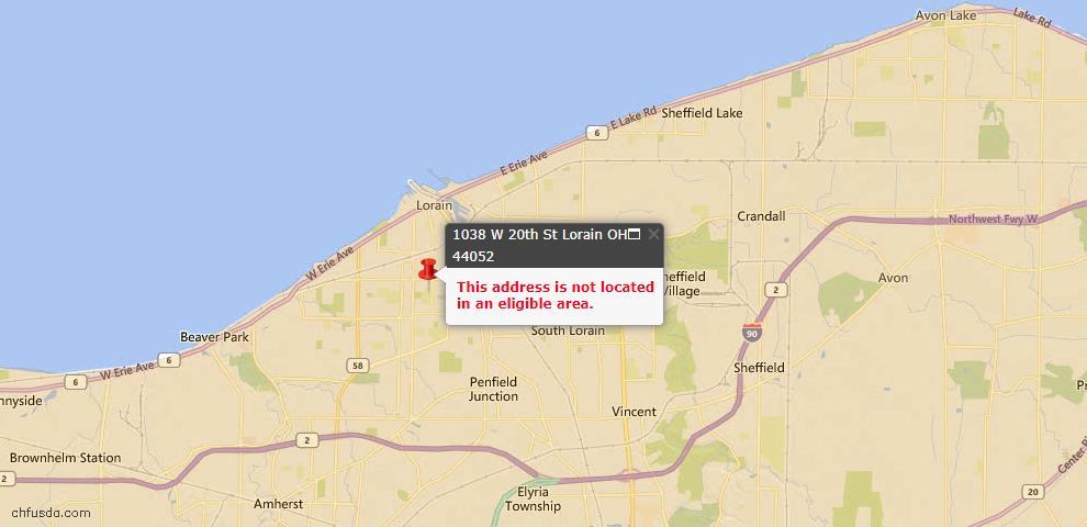 USDA Loan Eligiblity Map - 1038 W 20th St, Lorain, OH 44052