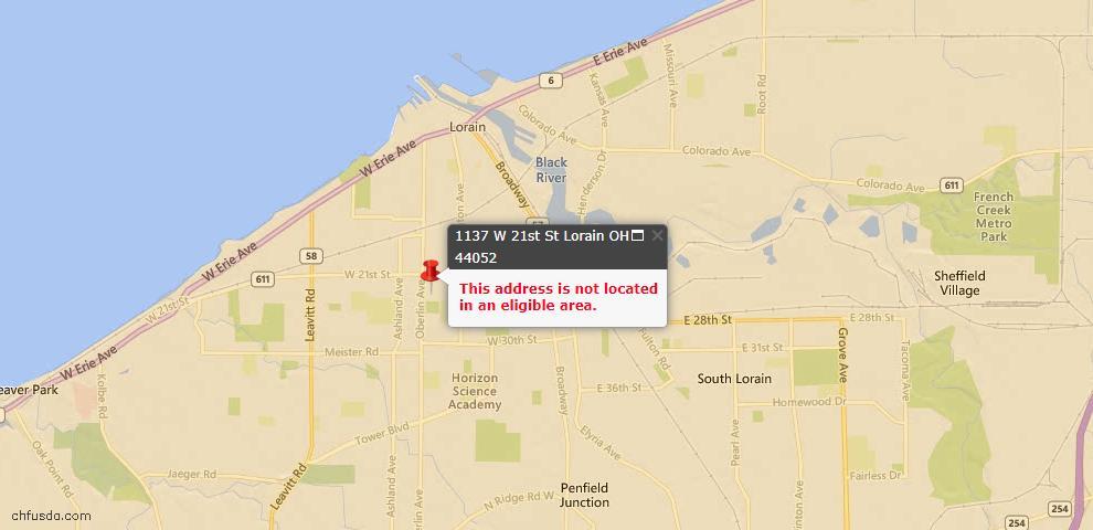 USDA Loan Eligiblity Map - 1137 W 21st St, Lorain, OH 44052