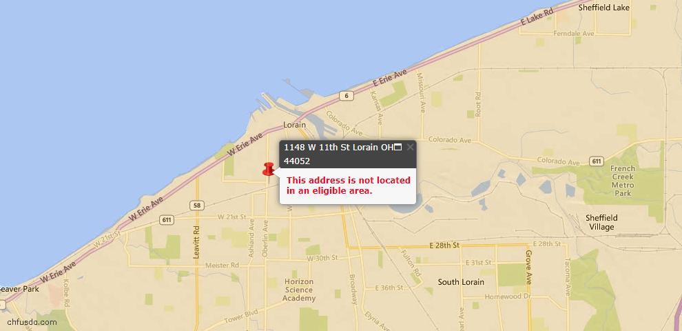 USDA Loan Eligiblity Map - 1148 W 11th St, Lorain, OH 44052