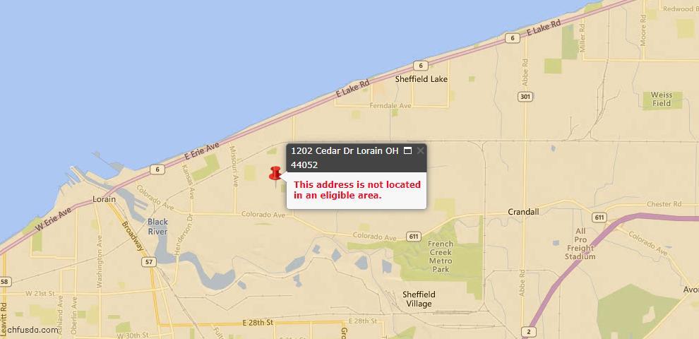 USDA Loan Eligiblity Map - 1202 Cedar Dr, Lorain, OH 44052