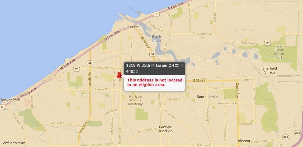 USDA Loan Eligiblity Map - 1219 W 25th Pl, Lorain, OH 44052
