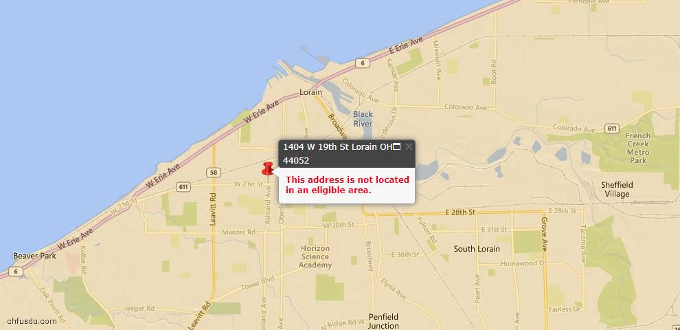 USDA Loan Eligiblity Map - 1404 W 19th St, Lorain, OH 44052