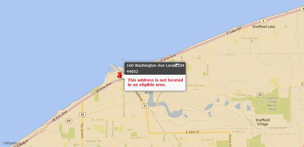 USDA Loan Eligiblity Map - 160 Washington Ave, Lorain, OH 44052