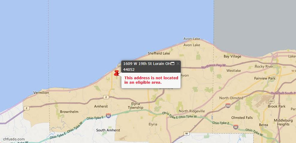 USDA Loan Eligiblity Map - 1609 19th St NW, Lorain, OH 44052