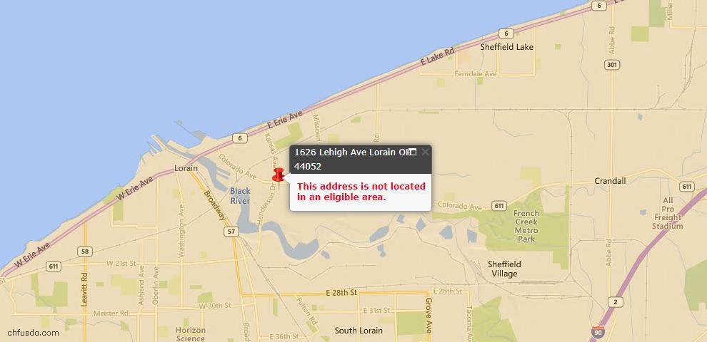 USDA Loan Eligiblity Map - 1626 Lehigh Ave, Lorain, OH 44052