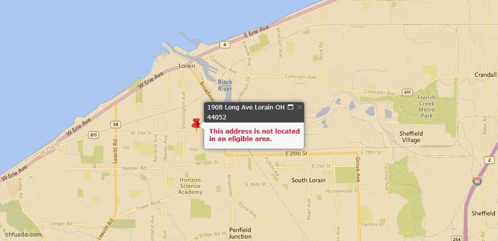 USDA Loan Eligiblity Map - 1908 Long Ave, Lorain, OH 44052