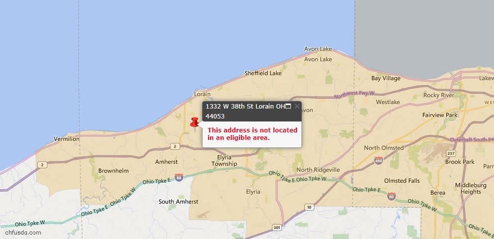 USDA Loan Eligiblity Map - 1332 W 38th St, Lorain, OH 44053