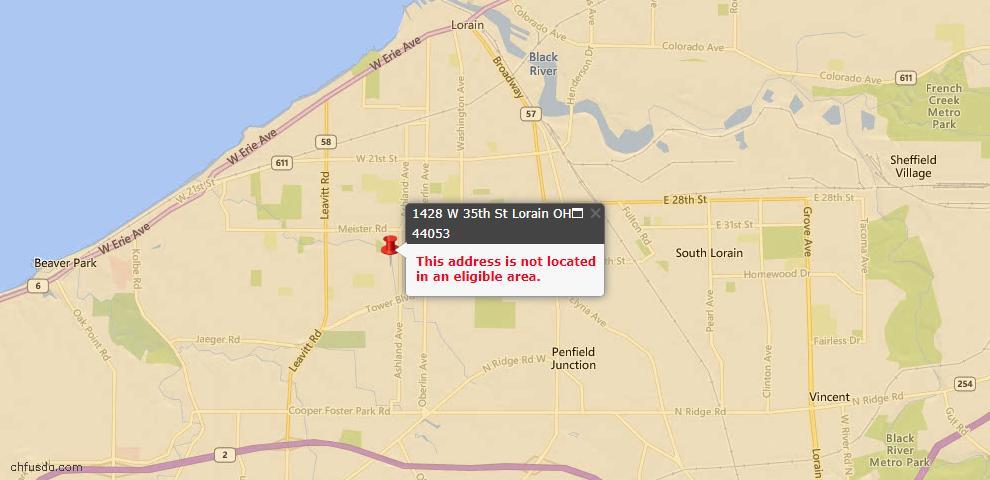 USDA Loan Eligiblity Map - 1428 W 35th St, Lorain, OH 44053
