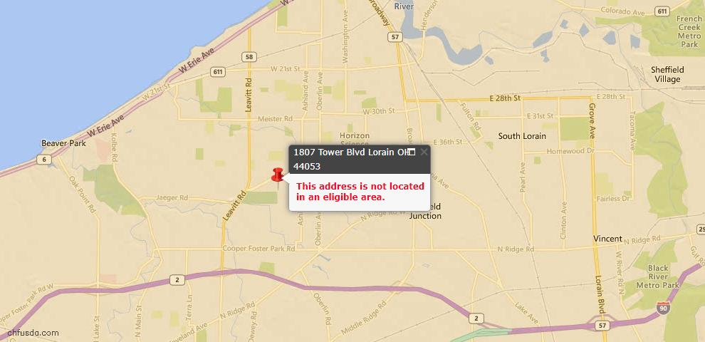 USDA Loan Eligiblity Map - 1807 Tower Blvd, Lorain, OH 44053