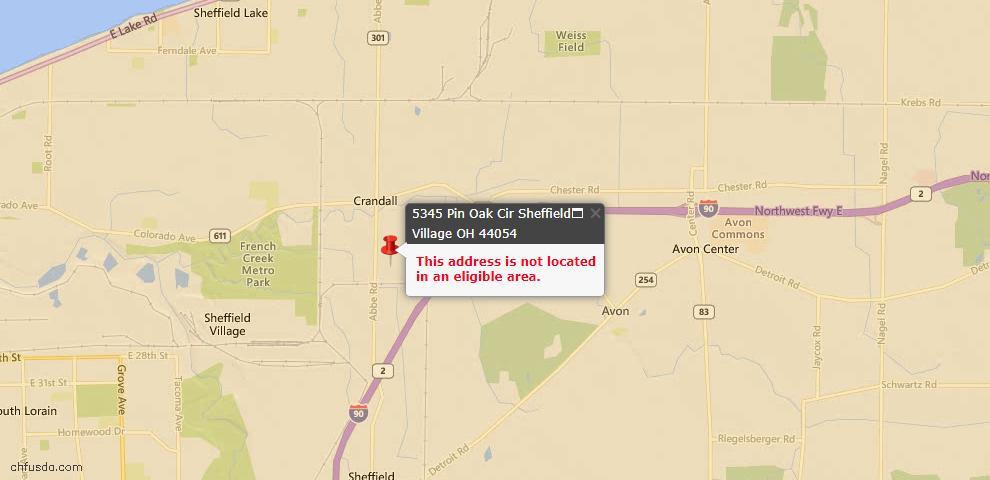 USDA Loan Eligiblity Maps From - Sheffield Village, OH