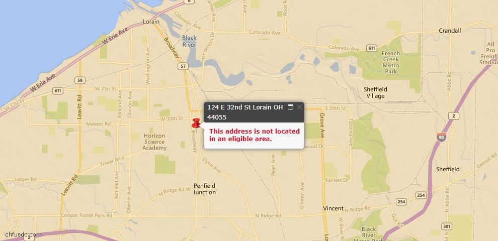 USDA Loan Eligiblity Map - 124 E 32nd St, Lorain, OH 44055