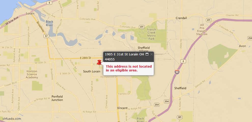 USDA Loan Eligiblity Map - 1905 E 31st St, Lorain, OH 44055
