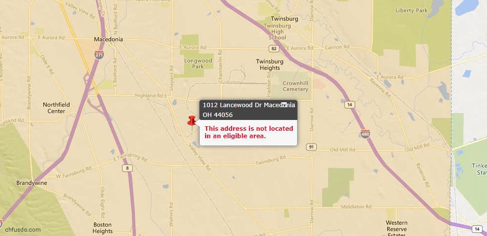 USDA Loan Eligiblity Map - 1012 Lancewood Dr, Macedonia, OH 44056